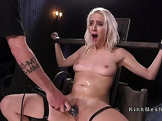 5:30 - Blonde slave hard flogged and gagged with huge dildo in bdsm -