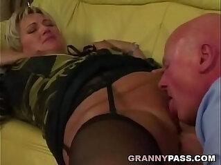 8:56 - Grandpa pounds chubby granny pussy -