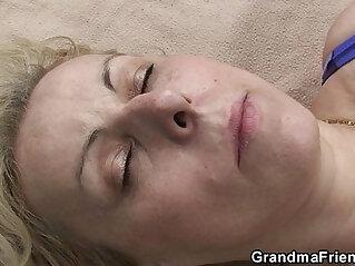 7:30 - Blonde granma swallows two cocks near lake -