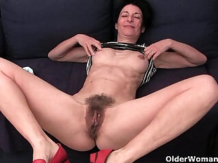 6:02 - Granny hides a full bush in her soaked panties -