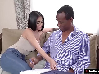 5:26 - Busty latina beauty gives head n rides her old black teacher -
