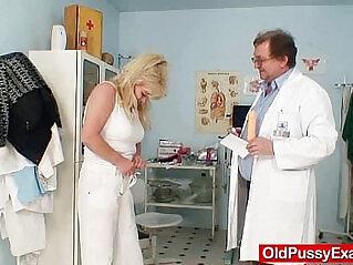 6:36 - Blonde gran dirty puss test and enema -