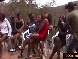 6:20 - Hot interracial session with nasty African sluts on the party after a Safari -