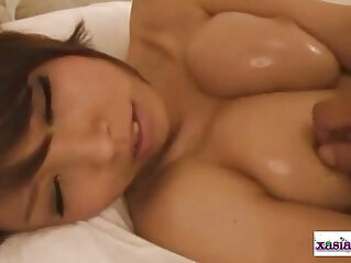 Asian Girl Oil On Body Getting Her Tits Sucking Cock and getting Fucked and taking Facial