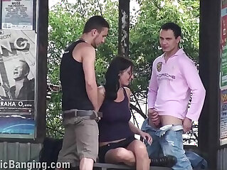 17:54 - Hot busty girl exposed in public sex bus stop threesome with guys with vaginal and oral -