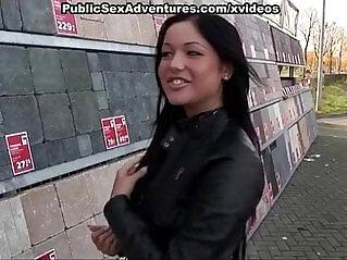 6:10 - Naughty horny girl sexy panty fucked in public -