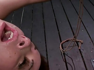 6:28 - Tied up brunette pussy vibed and throat gagged -