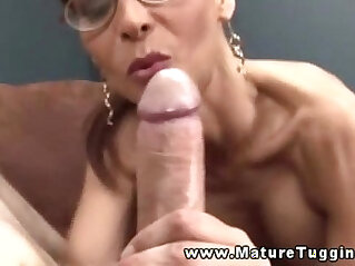 8:19 - Busty mature in spex tugging on cock and cant get enough -