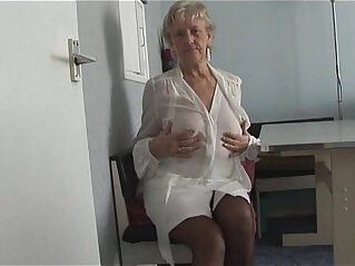 7:24 - Attractive Granny in short skirt panty teases showing off plump pussy lips -