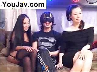 54:29 - Lucky Chinese Guy fucking Japanese girls in Black -