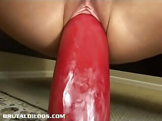 6:52 - Amateur blonde bouncing up and down on a gigantic dildo -