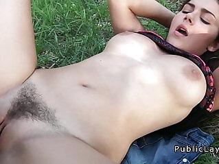 8:15 - Busty and hairy Italian student fucks in the park pov -