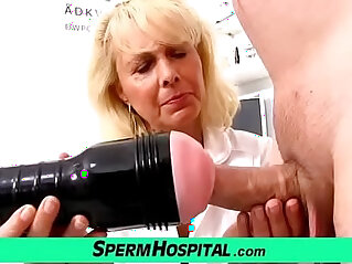Blonde lady doctor Koko old with her young CFNM exam and handjob