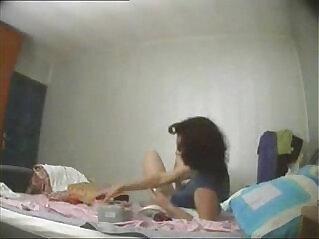6:10 - Great view of my mum masturbating on bed  Hidden cam -