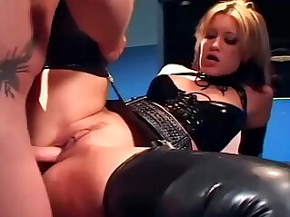 7:37 - Blonde in a uniform and latex lingerie fucking -