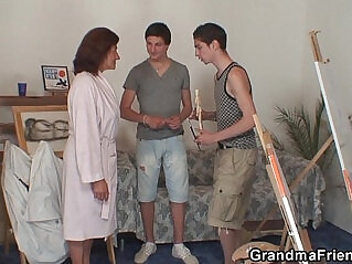 6:12 - Old bitch pussy banged by two young painters -