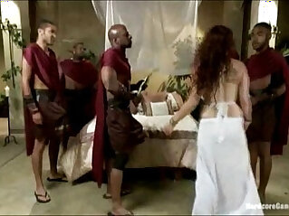3:04 - Ganbanged Roman royal fucked by her black guards -