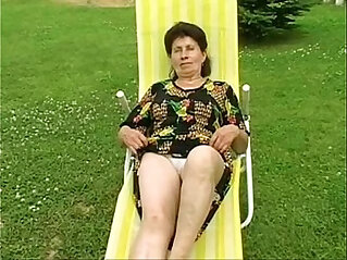 19:53 - Granny Marie gets fingered and fucked hard by the pool -