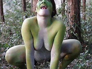 3:59 - Stark naked Japanese fat frog lady in the swamp HD -