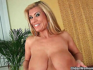 6:04 - Gilf with boobs strips off and gets fucked -