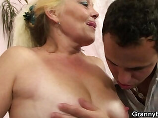 6:34 - Old blonde rides his cock -