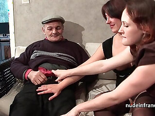 26:00 - FFM Two french brunette sharing an old man cock of Papy Voyeur -